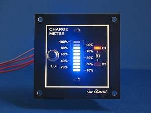 12V CHARGE METER - BAR GRAPH VOLTMETER for boat, RV BLUE